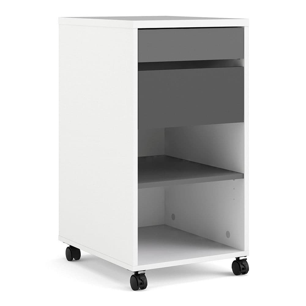 Business Plus Business Plus Mobile file cabinet 2 drawers + 1 shelf White Grey in White Grey